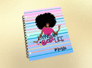 Black Woman Notebook, Living My Best Life, Black Girl, Personalized Notebook, Notebook, Custom Journal, Custom Notebook, African American