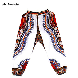 Mr Hunkle  New Fashion Design African Traditional Print 100% Cotton Dashiki Sky Blue Pants For Unisex