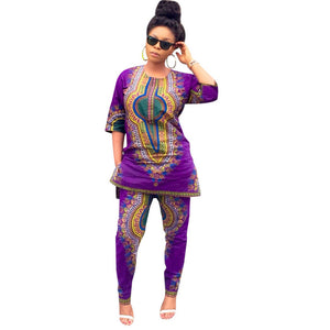 Women Hot Sexy African Print Casual Straight Tops+Pants Traditional Dresses Lady Leggings Summer Dashiki 2pcs Sets