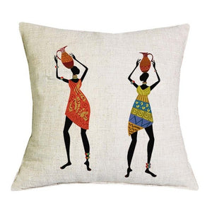 iSINOTEX Cotton Linen Pillow Cover Africa Original People Life Decorative Throw Pillow Case Cushion Cover Sofa Home Decoration