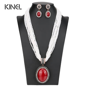 Luxury African Beads Jewelry Set Big Pendant Necklace And Crystal Earrings For Women Handmade Beaded Bohemian Jewelery