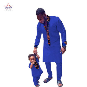 Fashion Africa Matching Brand father and Son Baby casual Sets Family african cotton Hot Clothing