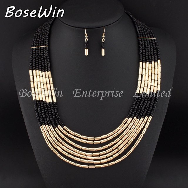 MANILAI African Style Beads Tassel Chains Necklaces Matching Drop Earrings Jewelry Set for Women Statement Jewelry Bijoux