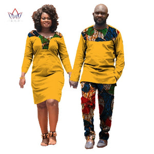 Fall African Clothes For Lovers African Dresses for Women Mans African Clothing Couple 2 PiecesAnd Dress Split Joint color