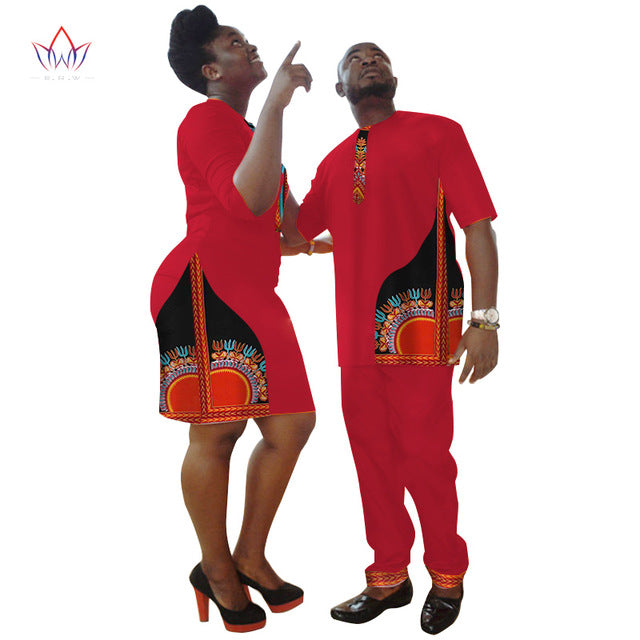 New Lovers Womens Mens African Clothing Two Sets Matching Couples Clothes summer wedding dress WYQ45 6XL China Dashiki Factory