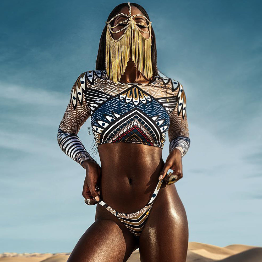 African Print Long Sleeve Bikini  Micro Thong Swimwear Women Bikini Set  Swimsuit Brazilian Bikinis Swim Bathing Suit