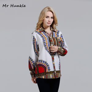 Mr Hunklle Women White Cotton Dashiki Print Shirts Pocket Turn-down Collar african shirt for women Full sleeve african clothing
