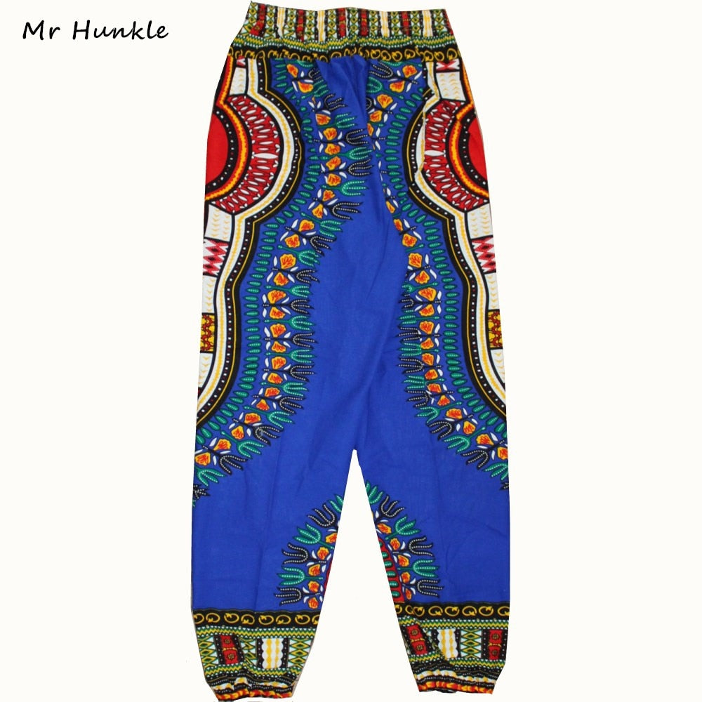 Mr Hunkle Fashion Design African Traditional Print 100% Cotton Dashiki Blue Pants For Unisex