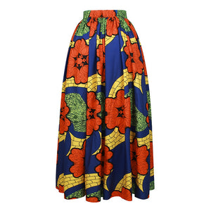 Women Casual High Waisted African Floral Print A Line Maxi Long Skirt with Pockets