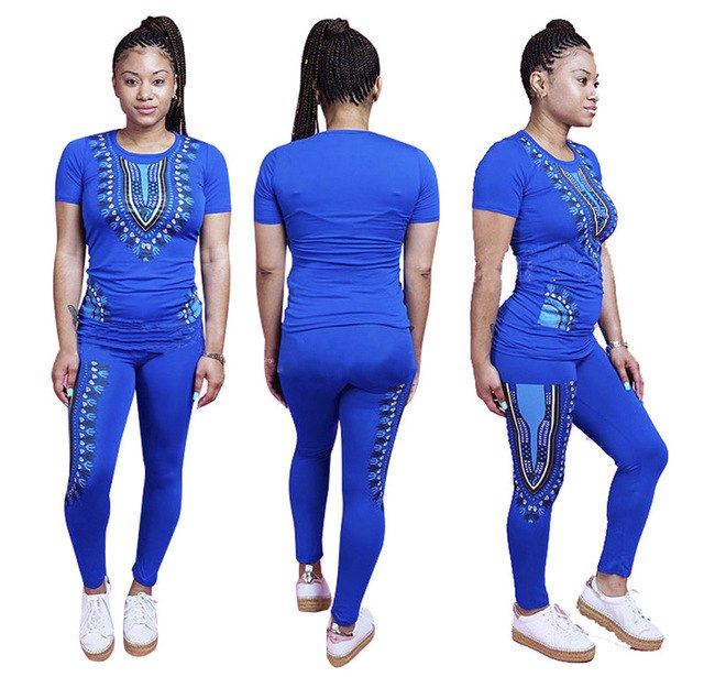 Traditional African Clothing 2 Piece Set Women Fashion Style African Print Dashiki Attire Top Pant Tribal Costume African Suits