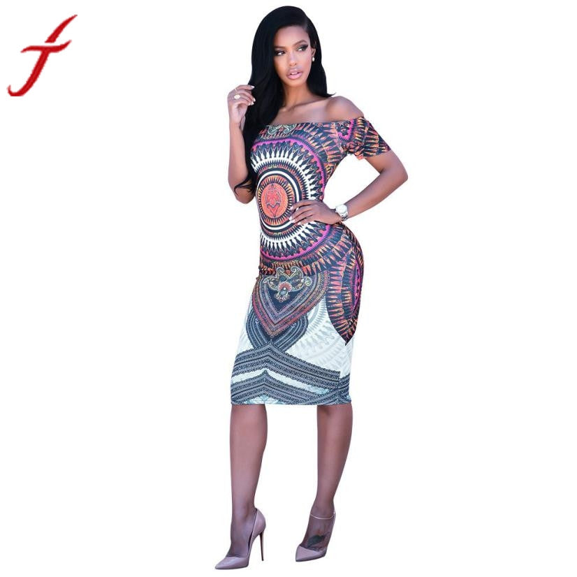 Traditional African Women Dress Print vestidos Dashiki Bodycon Sexy Short Sleeve Mini Dresses for women #1