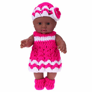 2pcs/Set Baby Doll Toy African Model Kindergarten Vinyl and Silicone Dolls Rose Red Knit Dress Newborn Baby Doll For Kids