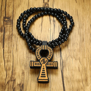 Men's Brown Wooden Ankh Cross Pendant with a 35 Inch Wood Beaded Necklace Male Hip Hop Egyptian Jewelry for Him Key of the Nile