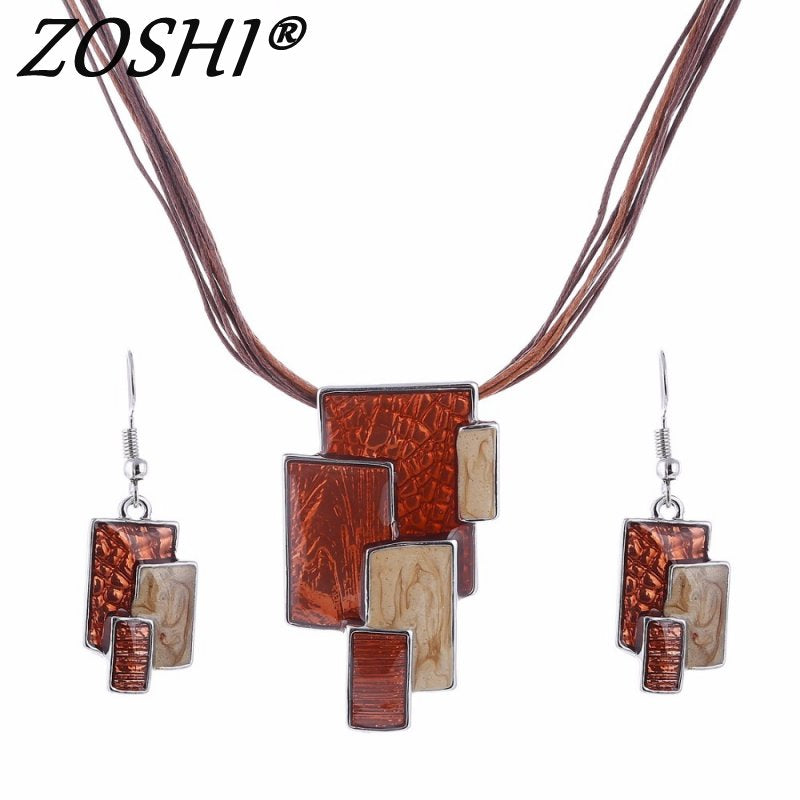 ZOSHI Fahsion Women Ethnic Retro Enamel African Jewelry Sets Necklace + Earrings Wedding Sets Colorful Crystal Stone Bijoux