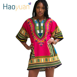HAOYUAN Dashiki Dress 2018 African Woman Traditional Print Short Sleeve Bazin Riche T-shirt Clothing African Dresses For Women