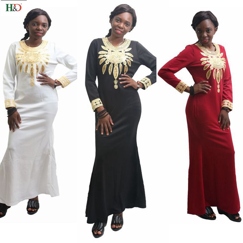African dresses for women winter dress long sleeve embroidery robe bazin riche nigeria africain africa wax
