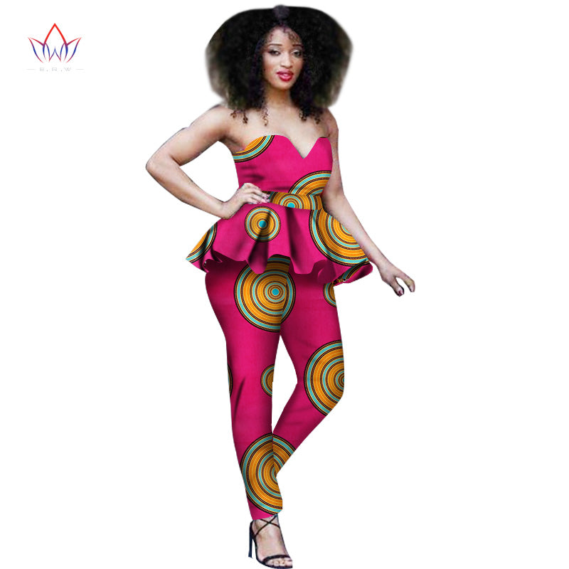 2018  African Traditional Clothing for Women Sexy Dashiki Two Piece Suit Women Crop top Pants Sets 2 Pieces set