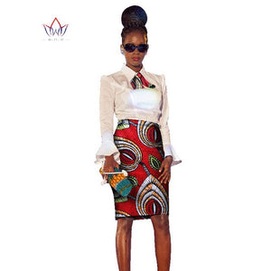 2018 african dress Plus Size 2 Pieces African Print Dashiki Shirt Skirt Set Bazin Rche Femme Africa Clothing 5xl natural