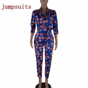 2018 spring african women blue floral printing casual outfit long sleeve 1 piece fashion vestido