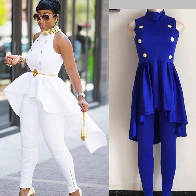 H&D  New fashion African women outfit suits big promotion button ruffles tops pant set 2 pieces suit White