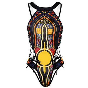 African One Piece Swimsuit  Geometric Print High Cut Trikini Thong Monokini Brazilian Swimwear Women Plus Size Bathing Suit
