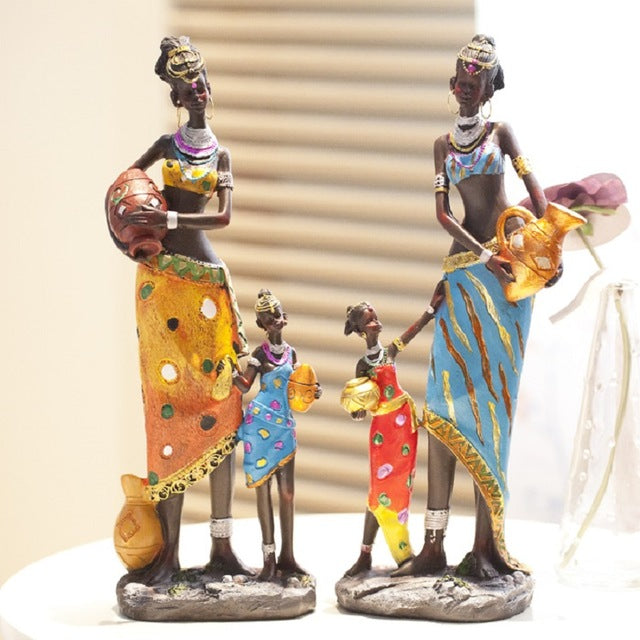 Home Decoration Accessories Resin Crafts gifts African Exotic Dolls Creative Resin Character Girls Living room Decoration statue