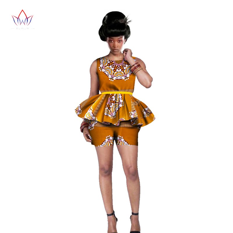 Women African Clothing 6XL Women African Outfits 2 Piece Sets African Print Shorts Set Design Brand Dashikis Print BRW WY542