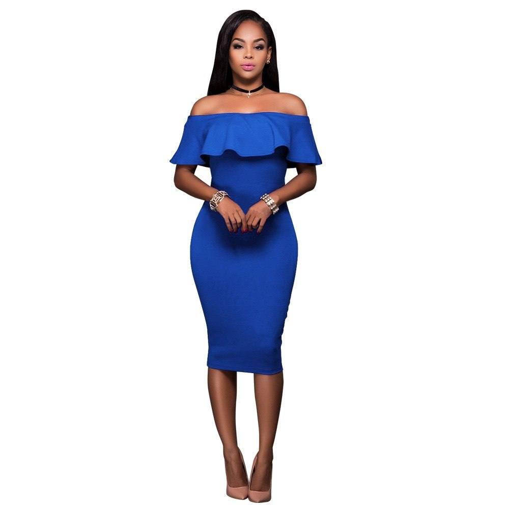 2018 Summer Blue Off The Shoulder Midi Bodycon Dress Sexy Ruffles Strapless African Women Celebrity Party Dresses Vestidos Robe