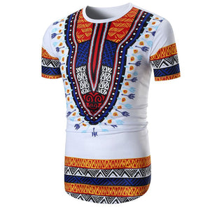 Men Summer New African Clothing Traditional Print Tops Fashion Design African Bazin Riche Clothes Dashiki T-shirt For Men