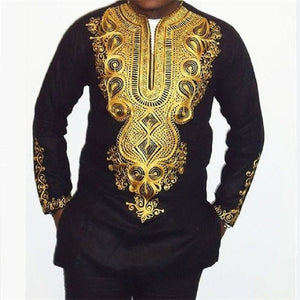 African clothing African dashiki style national wind printing V-neck long sleeve men's T-shirt Plus size M-2XL Black