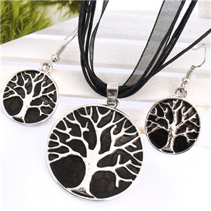 African Enamel Wedding Jewelry Sets Lucite Multilayer Leather Chain Silver Tree Pendant Earrings Turkish Jewelry Set for Women