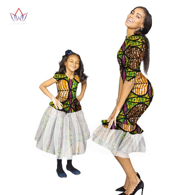 Fashion Family Matching Clothes Brand Mother and  Baby Family Clothing gauze fabric Family african clothing