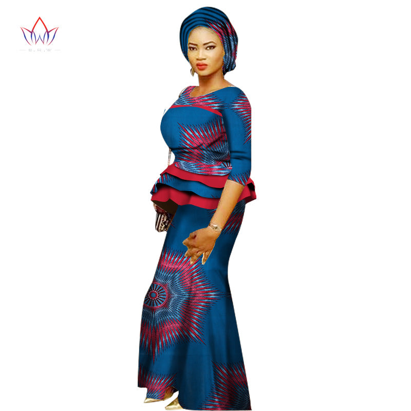 summer African Women cotton Clothing o-neck 6XL Wax traditional african clothing 2 pieces for Women natural Skirt Set  WY1399