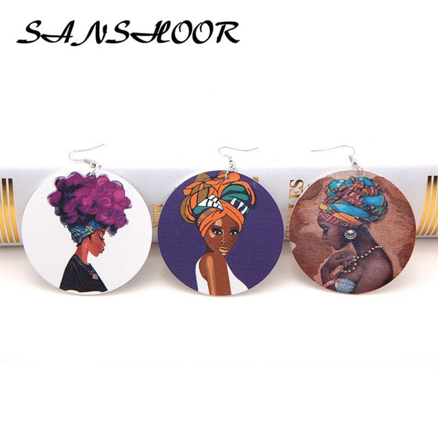Mixed African Headwrap Black Women Wood Earrings Natural Hair AFROCENTRIC JEWELRY 6cm Diameter For Ladies 6Pairs/lot
