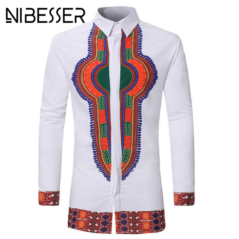 NIBESSER  Men African Gypsy Ethnic Shirts Full Sleeve turn down Collar Traditional men Clothing Print Dashiki shirt Men new