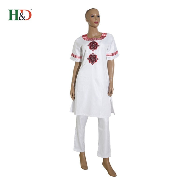 H&D 2018 African women clothing Africa summer short sleeve dashiki set embroidery design white black lady blouse top with pants
