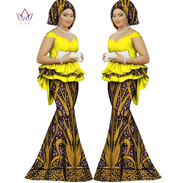 Skirt set african dashiki women traditional bazin print plus size dashiki african dresses for women suit 2pieces