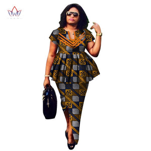 2018 Summer African Dashiki for women o-neck Skirt Set natural Bazin riche african fashion clothing cotton Plus Size BRW WY2592