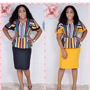 2018 ELEGANT African women clothing yellow printing dress stripe africa for women fashion casual party dresses vetsido