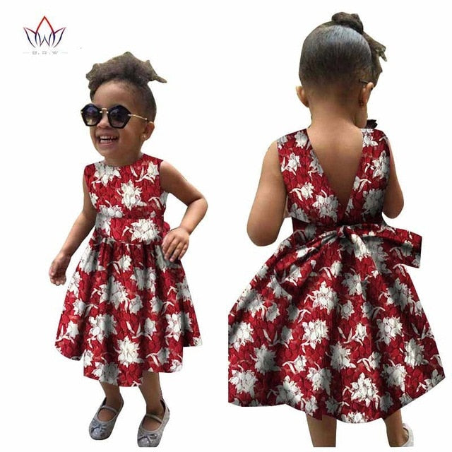 African Women Clothing kids dashiki Traditional cotton Dresses Matching  Africa Print Dresses Children Summer