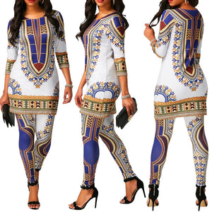African Print clothes For Women Dashiki Traditional African 2 Two Piece Set Print Tracksuit Bazin Top Pant Clothing Female Suit