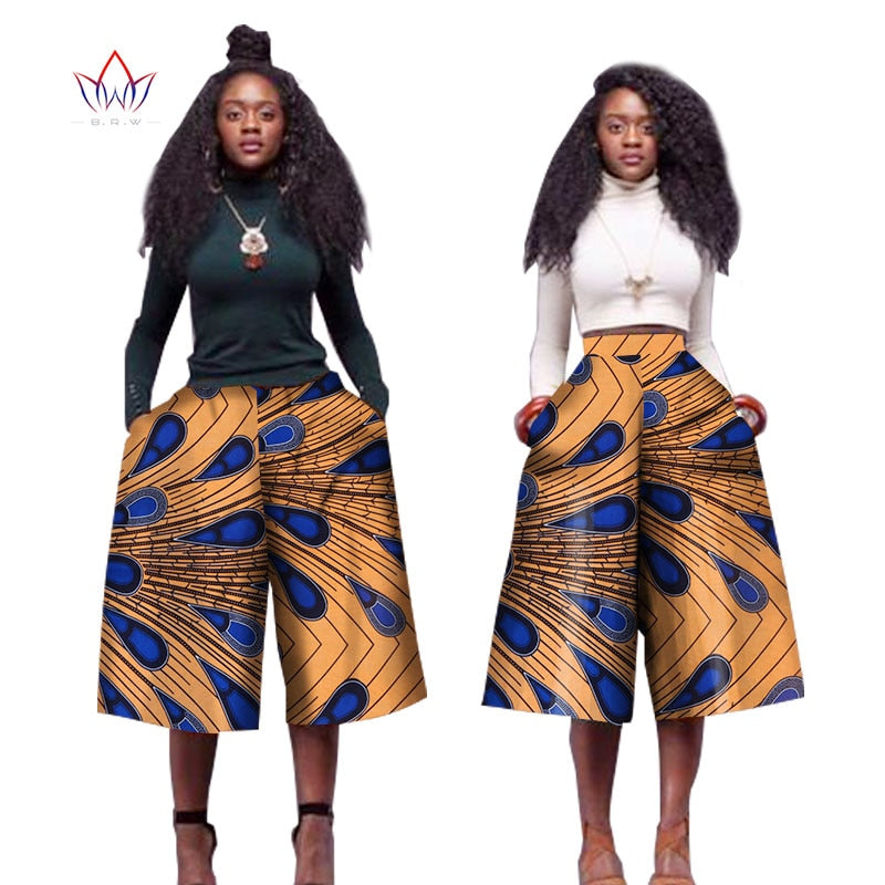 Womens African Dashik Pants ( Blue & Gold)  Mid-Waist Zipper Casual Trousers Pants