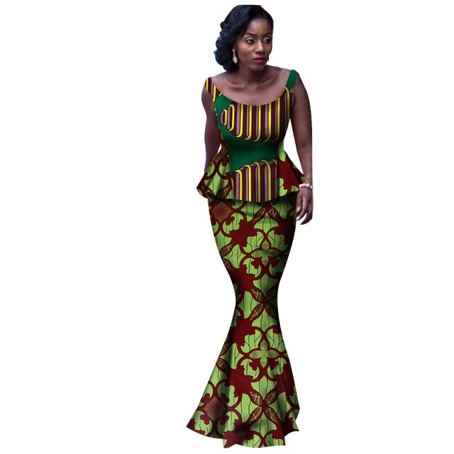 african clothes for women Summer Two Piece Set cotton african skirt set Plus Size bazin africain o-neck 7xl regular skirt