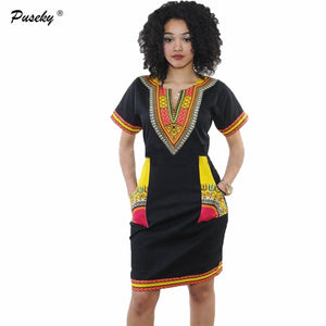 Dashiki dress 2016 Summer Sexy African Print Shirt Dresses Femme Vintage Mini hippie Plus Size  Women Casual Clothing
