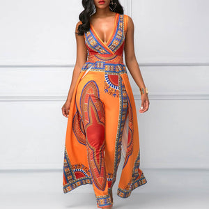 Sleeveless strappy African print Traditional Clothing Bazin Riche long jumpsuit wide leg Sexy Dashiki outfit