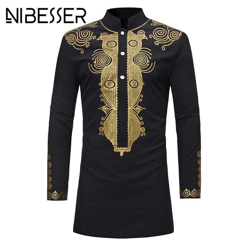NIBESSER Men Dashiki Dress Shirt Summer African Clothing Man fashion design Shirt African traditional printed Male Shirt Hippie