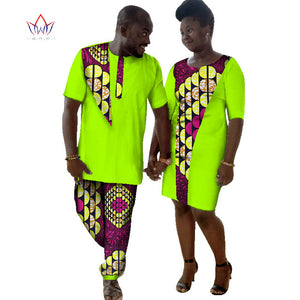 Lovers Womens Mens traditional African Clothing Two Sets Matching Couples o-neck Clothes short Sleeve regular regular BRW WYQ36