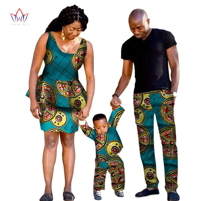 African traditional Clothing Fashion Family Matching Clothes Brand Father Mother and Son Baby cotton Sets 5 pieces