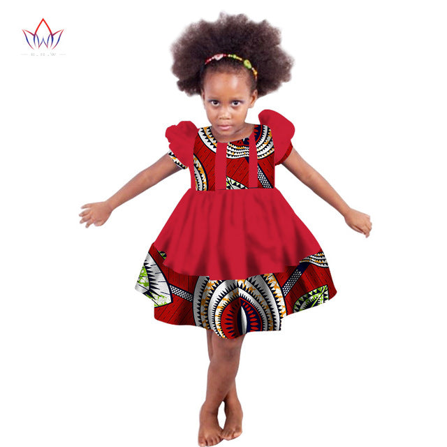 African girl Clothing kids dashiki Traditional cotton Dresses Matching  Africa Print girl  natural Dress Summer