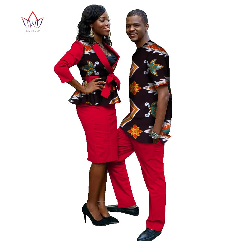 2018 New Lovers Womens Mens African Clothing Two Sets Matching Couples African Clothes four pieces Clothes Couple